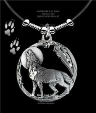 """MOON SHADOW WOLF NECKLACE MALE OR FEMALE - WOLVES EAGLE FEATHER  FREE SHIP 24""""L*"""