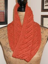 HAND KNITTED GORGEOUS SUPER SOFT DIAGONAL PATTERN LACE KNIT PUMPKIN ORANGE COWL