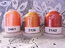 3 different orange 100% Polyester Machine Embroidery Thread 1110 yd Spools