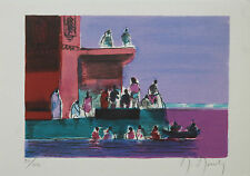 """Marcel Mouly """"Le Bain Dans Le Gange"""" Rare Limited Signed Numbered Print with COA"""