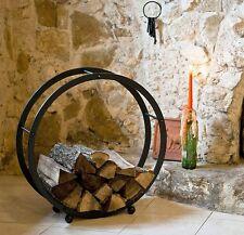 étagère en bois de cheminée Support rond d-70cm panier à pour