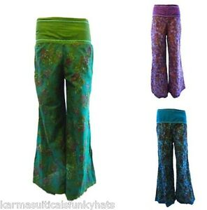 NEW  BOHO FLORAL HIPPY FLARE BELL BOTTOM TROUSERS 100% COTTON GROOVY!