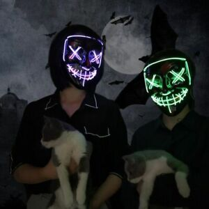 Led Mask Halloween Party Masquerade Masks Neon Light Glow In The Dark Horror