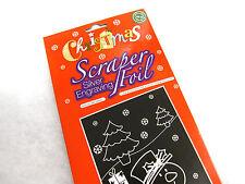 Christmas scraper foil silver engraving set Xmas santa stocking filler sack gift