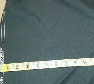 Italian Wool Suit fabric 5 Yards vintage Blue   Black Stripes MSRP 1495