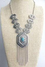 Silver Art Deco Turquoise tassel Hippy Bohemian Burning Man Gypsy Necklace