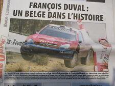 FRANCOIS DUVAL : UN BELGE DANS L'HISTOIRE WRC 14/11/2005