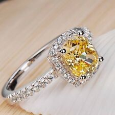 925 Silver Pink White Yellow Sapphire Wedding Engagement Ring Jewelry Size 4 -13