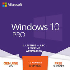 Microsoft Windows 10 Pro Lifetime  Activation Key | Genuine Code | 32/64bit PC
