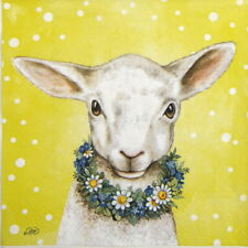 4x Paper Napkins for Decoupage- Easterfriends lamb yellow