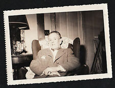 Antique Vintage Photograph Older Man Sitting in Chair in Retro Living Room