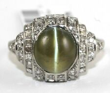 Fine Natural Green Cat Eye Chrysoberyl & Diamond Cocktail Ring Platinum 6.75Ct