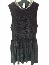 Topshop Size 8 Black Velvet Leopard Print High Studded Neck Mini Skater Dress