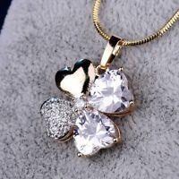 "18k Gold Filled Swarovski Crystal New Look Flower Pendant Chain Necklace 18"""