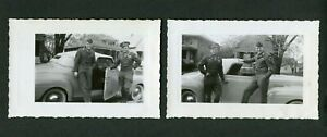 Vintage Car Photos Men w/ WWII US Army Uniforms 1940 Plymouth Convertible 415125