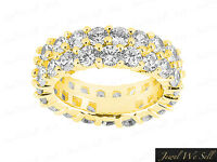 Genuine 3.25Ct Round Diamond Staggered 2Row Eternity Band Ring 18K Gold G SI1