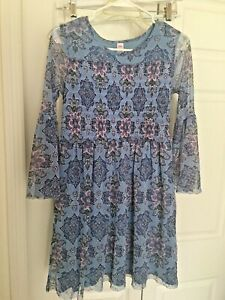 Girl's Dress - Justice Size 18  Blue Floral Lined With Sheer Long Bell Sleeves