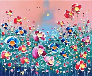 Winter Meadow Flowers in Love, an original oil painting on canvas, by Phil Broad