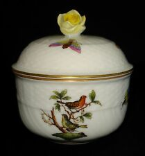 HEREND HUNGARY HAND PAINTED PORCELAIN ROSE FINIAL LIDDED SUGAR BOWL 4 oz. MINT