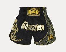 Top King Muay Thai Shorts Gold Kick Boxing Mma Fight Martial Arts Black Trunks