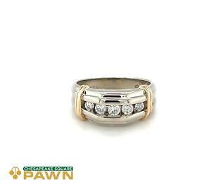Men's 0.49 ct tw Round Diamond Wedding Band, 14k White & Yellow Gold