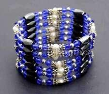 SALE 4-5mm White Natural Pearl and Blue Crystal & Hematite 36'' Bracelet-bra359
