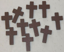 10 CHARMS - Wooden Cross Pendants - Christian Jewelry Craft Bible Study Activity