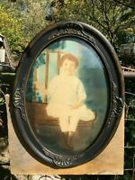 Vtg 1920s Art Deco Barbola Oval Portrait Young Child Convex Bubble Glass Frame