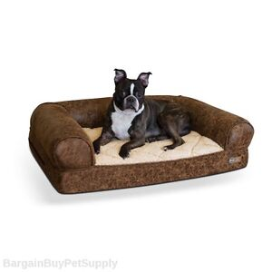 KH Mfg Memory Foam Orthopedic Faux Leather Dog Pet Sofa Bed Brown Medium KH4257