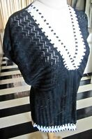 M MISSONI SHEER TOP DROP SLEEVES LOOSE KNITTED BLACK WOVEN WITH WHITE TRIMS, SZ