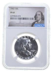 1963 PF67 Proof Franklin Half Dollar NGC Graded - White Coin Spot Free PR *0508