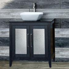 """30"""" Bathroom Black Vanity 30-inch Cabinet Black Granit Top vessel Sink A30B-B"""