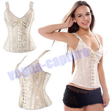 Plus Size Bustier Corset White Waist Training Brocade Basques Overbust Underbust