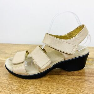 Alegria Womens Comfort Sandals Leather Neutral Tan Size 42