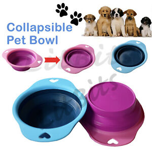 Collapsible Dog Bowl Silicone Portable Dish Fold Cat Travel Pet Food Water Feed