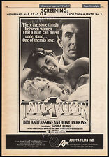 TWICE A WOMAN__Original 1981 Trade AD / poster__ANTHONY PERKINS__BIBI ANDERSSON