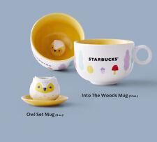 2020 NEW Starbucks Singapore Mid Autumn Owl Demi Mug Yellow Plate Saucer Set 3oz