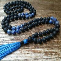 6mm Blue Spot Jasper Lava Stone 108 Beads Tassel Necklace Lucky Buddhism Bless