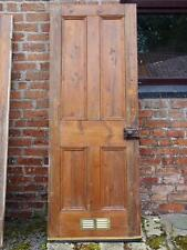 A Lovely Old Antique Victorian Stripped Chunky Pine Panel Door with Hardware