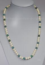 Unikat Halskette Collier aus Perlen und Azurit Malachit Geschenk 1773