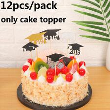12Pcs Graduation Cap Hat Cake Glitter Paper Topper Cupcake Picks Party Supplies`