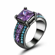 Princess Cut Amethyst Wedding Engagement Band Ring Black Rhodium Plated Size 8