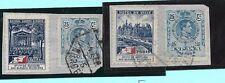 España. 2 sellos de 25 cts de Alfonso XIII sobre fragmentos con viñetas