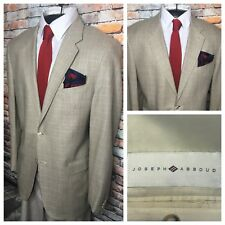 Joseph Abboud Tan Glen Plaid Silk Wool Sport Coat Jacket Mens Size 42L