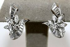 Platinum Marquise & Baguette Diamond Cluster Omega Back Earrings 3.57Ct