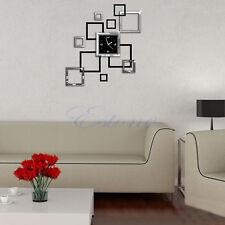 DIY 3D Square Removable Wall Clocks Sticker Mirror Decal Art Mural Home Decor