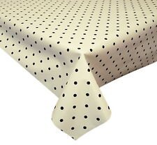 ACRYLIC COATED TABLE CLOTH DOTTY WHITE BLACK POLKA DOT SPOTS WIPE ABLE COVER