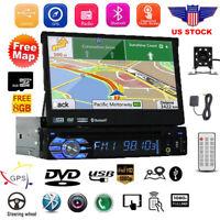 "Car Radio 7"" 1 DIN Audio Retractable GPS Navi Bluetooth Stereo MP5 Player+Camera"