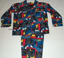 Batman Boys Blue Comic Print 2 Piece Flannel Pyjama Set Size 4 New