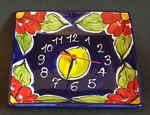 Spanish Ceramic Square Clock 22cm x 22cm